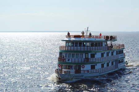MANAUS, BR - CIRCA AUGUST 2011 - Cruise boat on the Amazon river, near Manaus. Cruises are the best way to visit the region.