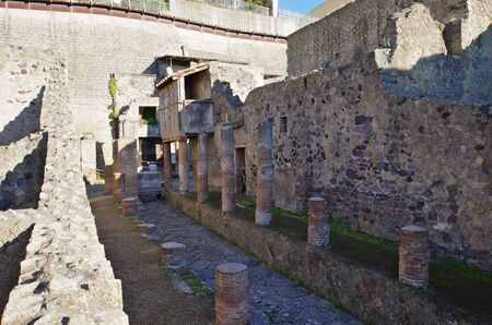 excavations: NAPLES,IT - DECEMBER 26,2016 - View of the ruins of Ercolano. The city was destroyed by the Vesuvius eruption in A.D.79, and the excavations brought to light the ruins below 16 meters of ash.