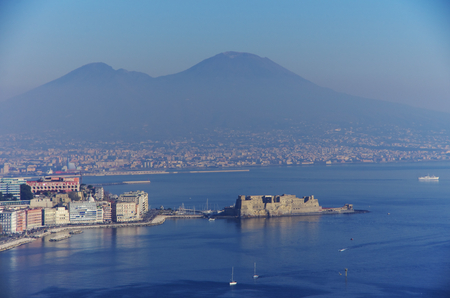 castel: Aerial view of Naples and its gulf, with the Vesuvius in the background