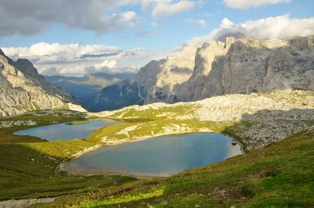 Laghi dei Piani, mountain lakes near refuge Locatelli and Val Fiscalina, Southern Tyrol.