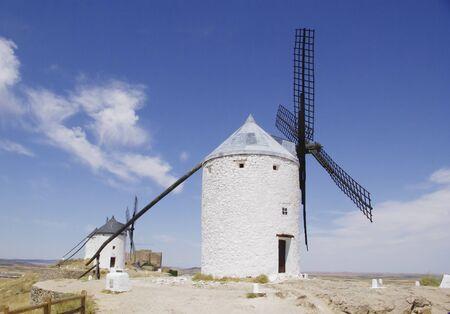 mancha: White windmills in La Mancha, Spain.