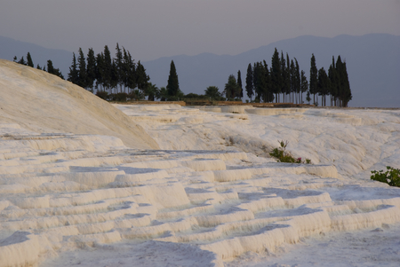 tr: PAMUKKALE,TR - CIRCA AUGUST, 2009 - The calcium carbonate terraced water pools of Pamukkale are one of the favourite touristic attractions of central Turkey. Stock Photo