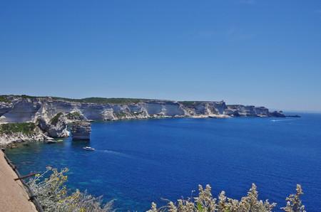 Bonifacio is a medieval citadel built on high white cliffs above the Mediterranean sea.