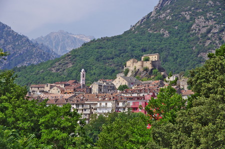 ville: The medieval citadel of Corte has been the capital town of Corsica, during the indipendence period. Stock Photo