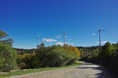 Wind turbines on the summit of mount Secchieta in Tuscany, Italy