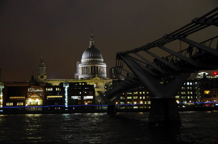 Night view of the Millennium Bridge over the Thames, towards St. Pauls Cathedral Editorial