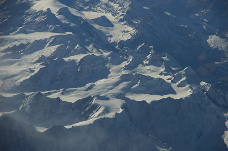 Aerial view of the glaciers of the Bernese Oberland.