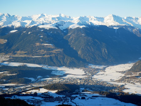 Panoramic view of Bruneck ond Pustertal from the summit of Kronplatz Stock Photo