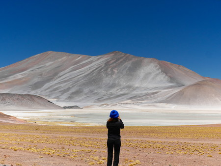 Laguna Miscanti in the Chilean Andes. The desert of Atacama in the north of Chile is the driest region on earth. Young female tourist standing.