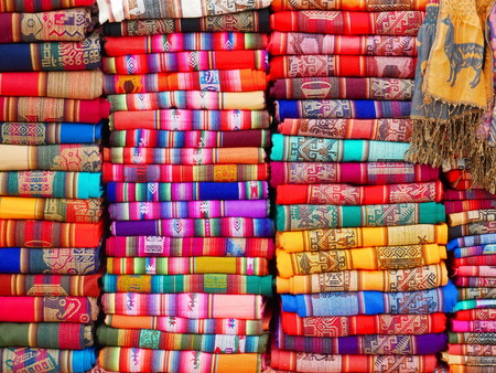 Colorful textiles in the market of Purmamarca, Argentina. Alpaca wool. 写真素材