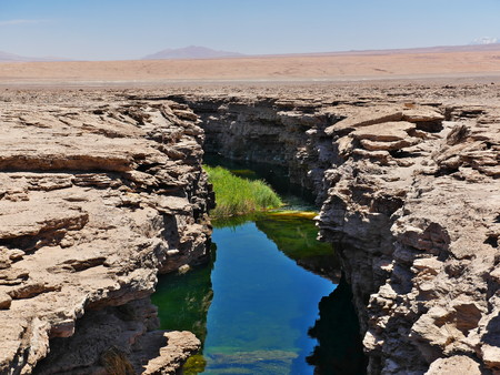 Canyon carved in the desert near Calama. The desert of Atacama in the north of Chile is the driest region on earth.