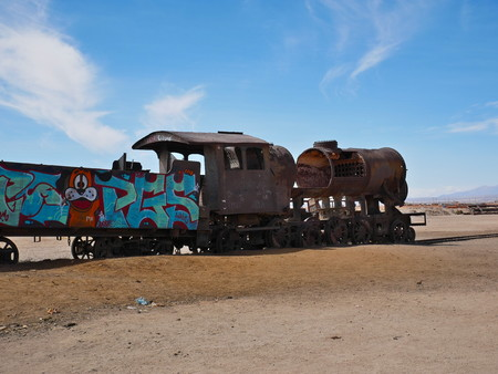 Train cemetary near Uyuni, Bolovia. Andean altiplano of Bolivia, South America 報道画像