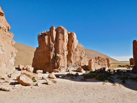 Amazing rock formations on the Andean altiplano of Bolivia, South America 写真素材