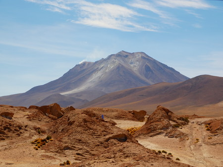 Andean altiplano of Bolivia, South America. The active volcano Ollague