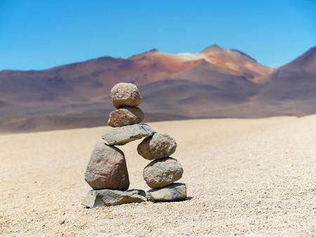 Desert of Bolivia looks like paintings by Salvador Dalì. Andean altiplano of Bolivia, South America Banco de Imagens