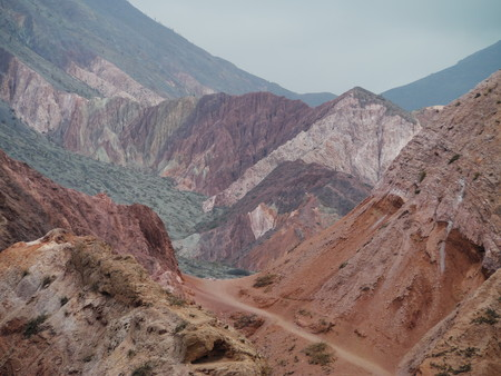 The scenic view of Quebrada del Toro, red rocks and cactus