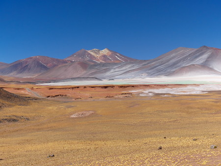 Laguna Piedras Rojas in the Chilean Andes. The desert of Atacama in the north of Chile is the driest region on earth. 写真素材