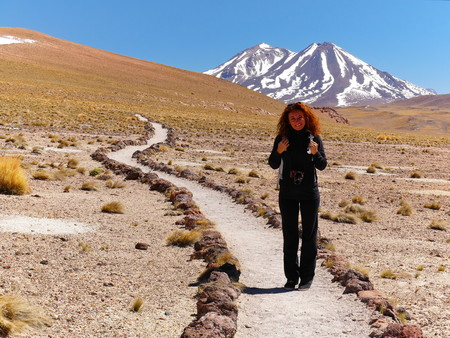 Laguna Miscanti in the Chilean Andes. The desert of Atacama in the north of Chile is the driest region on earth. Young female tourist standing. Foto de archivo - 117654578