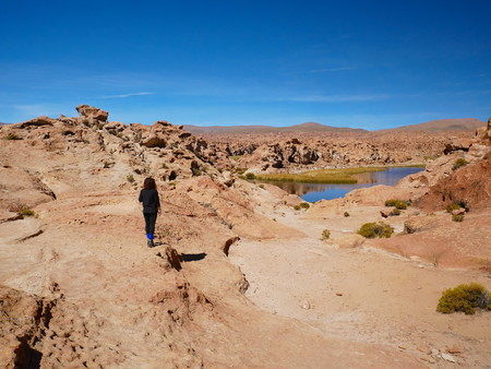 Young tourist at Laguna Escondida and rock formations. Andean altiplano of Bolivia, South America 報道画像