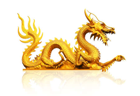 china art: golden statue gragon Stock Photo