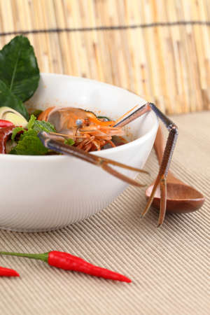 Thai tom yam soup with shrimp photo