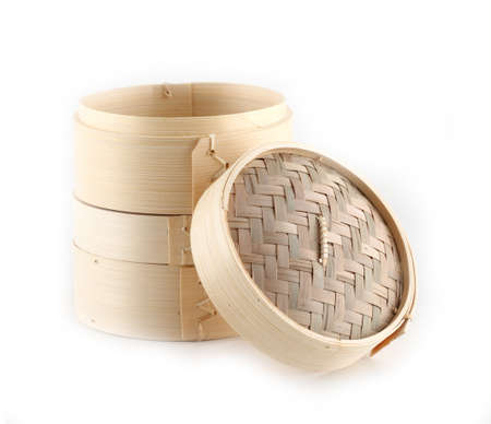 Dim Sum in Bamboo Steamed Bowl on white background