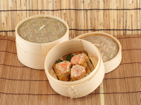 Dim Sum in Bamboo Steamed Bowl photo