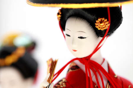 Japanese Doll white isolated Banque d'images