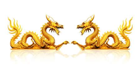 Golden gragon statue  免版税图像