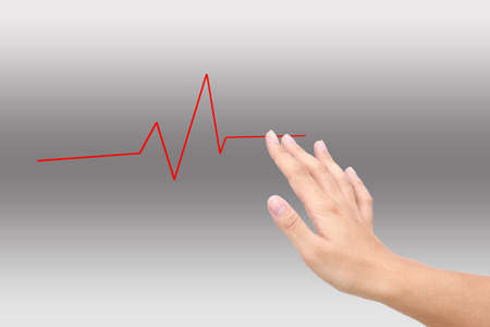 man pushing chart heartbeat Stock Photo - 22845105