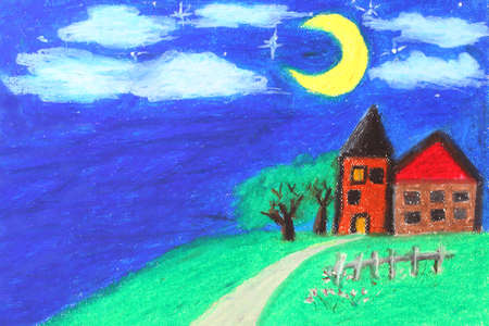 plight: Pastel Painting - Castle on hill  Stock Photo