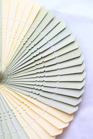 Light brown wooden Chinese fan, fanned out, on a white background photo