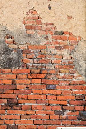 Old weathered brick wall fragment  版權商用圖片
