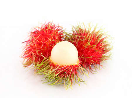 Rambutan is a fruit on white background photo