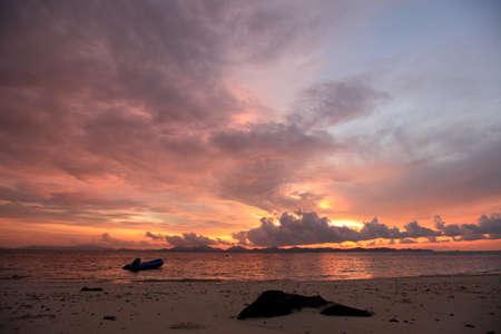 Beautiful tropical sunset on the beach in Phuket  photo