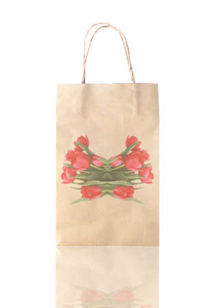 Tulip logo on paper bag on white background photo