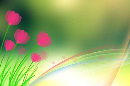 Rainbow spring design with flowers photo
