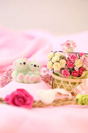 Lamp bear couple ,flowers, for pink background image   photo