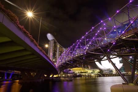 marina bay:  The Marina Bay Sands complex at night