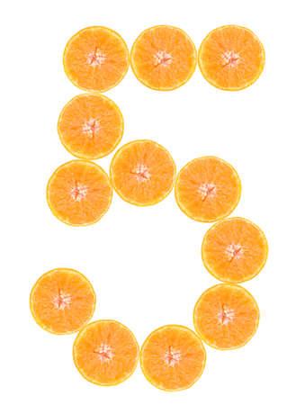 number 5: Number 5, font of orange citrus fruits on white background