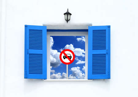 Greek Style windows and stop car icon with blue sky view  photo