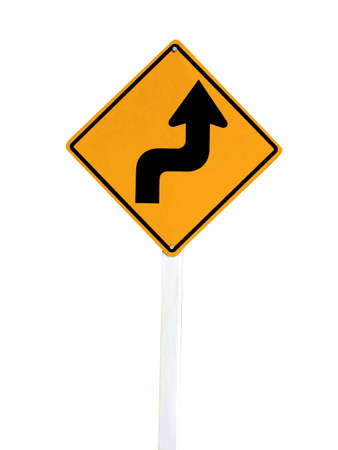 Right Sharp turn traffic road sign isolated on white background  photo