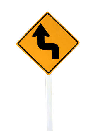 curvaceous: Left Sharp turn traffic road sign isolated on white . Stock Photo