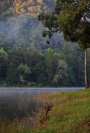 Beautiful forest lake in the morning Pang Ung, Mae Hong Son, Thailand  photo