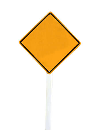 Blank yellow road sign isolate on white background  photo