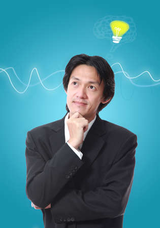 Businessman thinking icon,attractive asian young man thinking photo