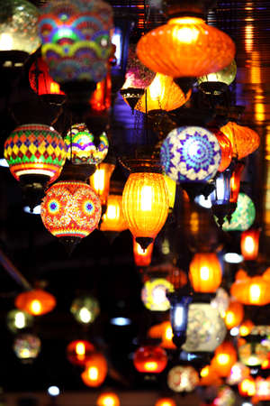 Traditional vintage Turkish lamps over light background in the night  版權商用圖片