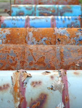 Old abandoned chemical fuel barrels  photo