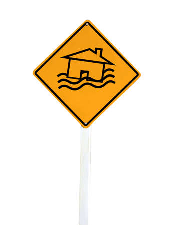 house flood: Flood Disaster Yellow Sign - House and waves on yellow sign isolated on white background  Stock Photo