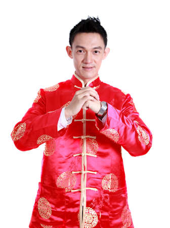 Happy Chinese new year Young Asian man with gesture of congratulation